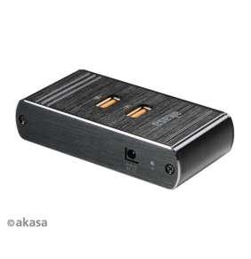 AKASA nabíječka USB, 4 nabíjecí porty USB, hliník, černá