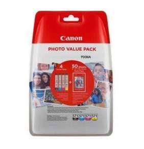 Canon inkoustová náplň CLI-571XL C/M/Y/BK + 50x PP-201 pro Canon Pixma MG6850,MG6851,MG6852,MG6853,MG7750...