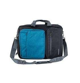 """Modecom brašna RENO na notebooky do velikosti 15,6"""", kovové přezky, 5 kapes, funkce batohu, černo/modrá"""