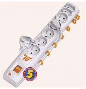 Acar P7 3m kabel, 5+2 zásuvek, přepěťová ochrana, bílá