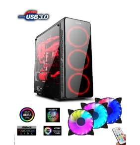 1stCOOL FullTower GAMER 3, AURA ARGB LED fan, skrinka ATX, USB3.0, čierna