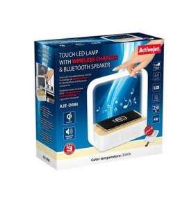Stolná lampa ActiveJet AJE-ORBI s BT repro a Wireless nabíjaním (1,5m  White warm)