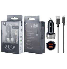 Aligator Nabíječka do auta PLUS A6134 s kabelem pro iPhone lightning, 2xUSB výstup 2.4A, stříbrná