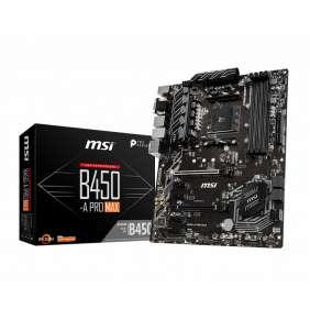 MSI B450-A PRO MAX  / B450 / AM4 / 4x DDR4 DIMM / M.2 / VGA / DVI-D / HDMI / ATX