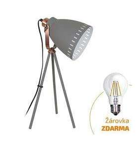Solight stolná lampa Torino, trojnožka, 52cm, E27, šedá