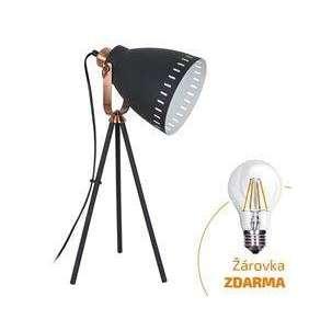 Solight stolná lampa Torino, trojnožka, 52cm, E27, čierna