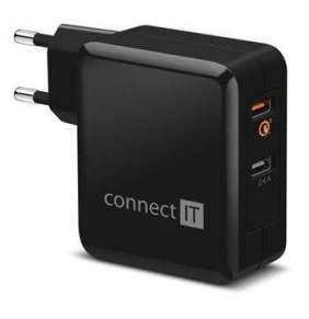 CONNECT IT QUICK CHARGE 3.0 nabíjecí adaptér 2x USB (3,4A), QC 3.0, černý