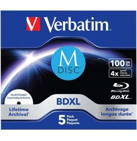 VERBATIM M-DISC BD-R XL 100GB, 4x, printable, jewel case 5 ks