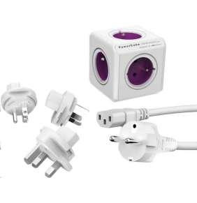 Allocacoc PowerCube ReWirable + Travel Plugs + IEC white/purple
