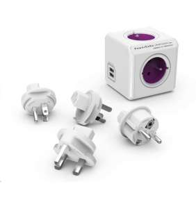 Allocacoc PowerCube ReWirable USB + Travel Plugs, white/grey