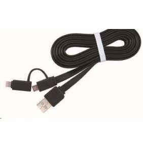 Gembird kábel 2v1 combo, Lightning 8-pin (M) / microUSB na USB 2.0 (M), 1 m, čierny