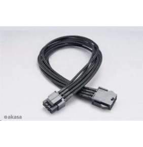 AKASA prodlužovací kabel pro VGA FLEXA P8 8pin(4+4) (M) na 8pin(M) / AK-CBPW08-40BK / černý / 40cm