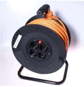 PREMIUMCORD Prodlužovací přívod 230V buben 25m, 4 zásuvky, černá