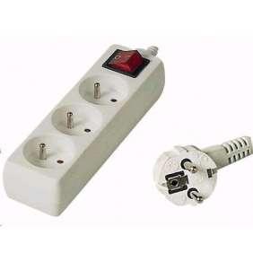 PREMIUMCORD Prodlužovací přívod 230V 3m, 3 zásuvky + vypínač, bílá