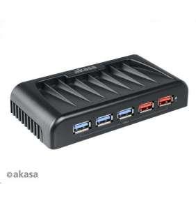 AKASA HUB USB Connect 7EX, 7x USB 3.0, 2 nabíjecí porty USB, externí, s napájecím adaptérem