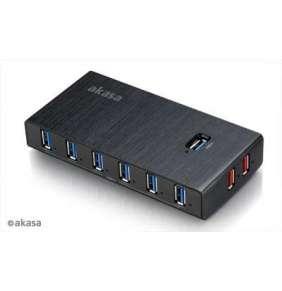AKASA HUB USB Elite 10EX, 10x USB 3.0, 2 nabíjecí porty USB, ON/OFF, externí, s napájecím adaptérem