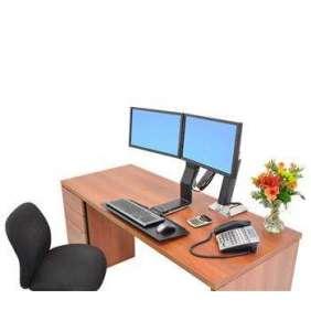 ERGOTRON WorkFit-A, Dual Display, Polished aluminum, nastavitelný stolní držák pro dva monitory , kláv.