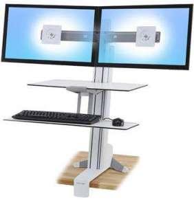 ERGOTRON WorkFit-S, Dual Monitor with Worksurface+ (bílý),stolní držák pro dva monitory , kláv.+myš.,okl. plocha