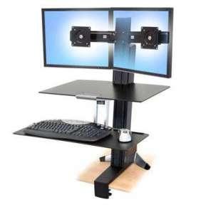 ERGOTRON WorkFit-S, Dual Sit-Stand, nastavitelný stolní držák pro 2 monitory,kláv.+myš.+odkl. plocha
