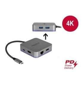 Delock Dokovací stanice USB Type-C™ pro mobilní zarízení 4K - HDMI / Hub / LAN / PD 3.0 s LED osvetlením