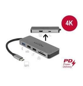 Delock Dokovací stanice USB Type-C™ pro mobilní zarízení 4K - HDMI / Hub / SD / PD 2.0