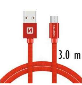 SWISSTEN DATA CABLE USB / MICRO USB TEXTILE 3,0M RED