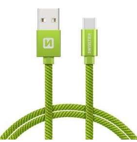 Swissten Datový Kabel Textile Usb / Usb-C 0,2 M Zelený