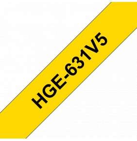 BROTHER páska pro vysokorychlostní tisk HGE631V5 / žlutá-černá / 12mm