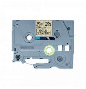 Brother - TZe-MPGG31 páska se zlatými geometrickými vzory / černá (12mm, 4m)