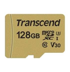 Transcend 128GB microSDXC 500S UHS-I U3 V30 (Class 10) MLC paměťová karta (s adaptérem), 95MB/s R, 60MB/s W