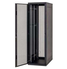 """Stojanový rozvaděč 19"""" 42U (š)800x(h)1000, přední a zadní dveře 80% síto, RAL9005 černý"""