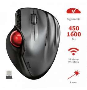 TRUST Mouse Sféria Wireless Trackball USB 2.0, bezdrátová myš