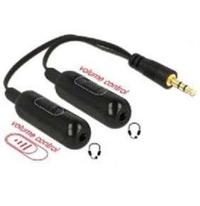 Delock audio rozbočovač stereo jack samec 3.5 mm 3 pin   2 x stereo jack samice 3.5 mm 3 pin + Ovladače hlasitosti