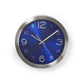 Nedis CLWA010MT30BU - Kulaté Nástěnné Hodiny | Průměr 30 cm | Modrá a Nerezová Ocel