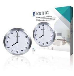 König KN-CL10N - Nástěnné Hodiny 30 cm Analogový Stříbrná/Bílá