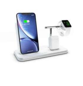 ZENS Stand+Dock+Watch Aluminium WirelessCharger - White