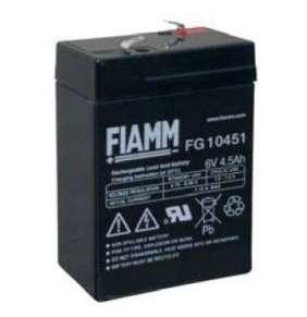 FIAMM olověná baterie FG10451 do svítilen/ 6V/ 4,5Ah/ životnost 5 let/ Faston F1-4,7mm