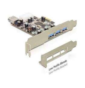 DeLock PCI Express x1   USB 3.0, 3x externí, 1x interní, VIA, + low profile