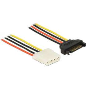 Delock Power Cable SATA 15 pin male   4 pin female 20 cm