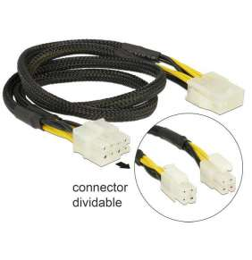 Delock Extension Cable Power 8 pin EPS male (2 x 4 pin)   8 pin female 44 cm