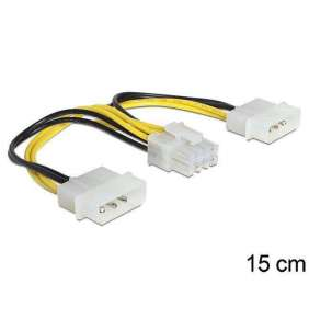 Delock napájací kábel 8 Pin EPS > 2 x 4 Pin molex, 15 cm