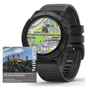 Garmin fenix6X PRO Glass, Black/Black Band (MAP/Music),Topo Czech PRO