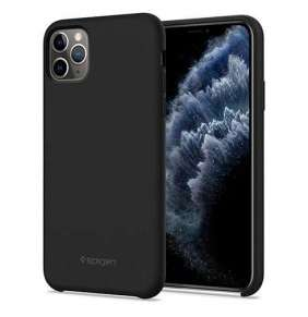 Spigen kryt Silicone Fit pre iPhone 11 Pro Max - Black