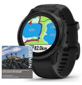 GARMIN GPS chytré hodinky fenix6S PRO Glass, Black/Black Band (MAP/Music)