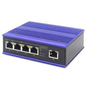DIGITUS Professional Industrial 4-Port Fast Ethernet PoE Switch + 1 uplink port
