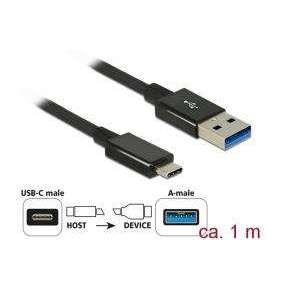 Delock Kabel SuperSpeed USB 10 Gbps (USB 3.1 Gen 2) USB Type-C™ samec   USB Typ-A samec 1 m koaxiál černý Premium
