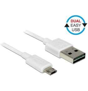 Delock Kabel EASY-USB 2.0 Typ-A samec   EASY-USB 2.0 Typ Micro-B samec 3 m bílá