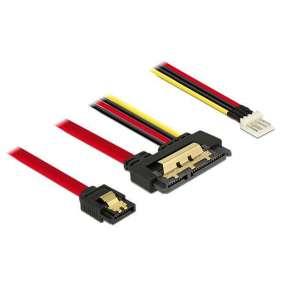 Delock Kabel SATA 6 Gb/s 7 pin samice + Floppy 4 pin napájení samec   SATA 22 pin samice přímý kovový 30 cm