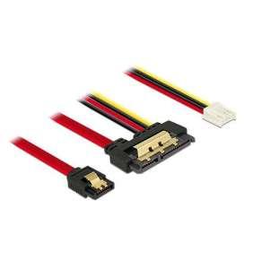 Delock Kabel SATA 6 Gb/s 7 pin samice + Floppy 4 pin napájení samice   SATA 22 pin samice přímý kovový 30 cm