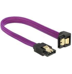 Delock SATA kabel 6 Gb/s, 20 cm otočený dole/rovný, kovové svorky, fialový Premium